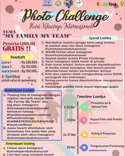 Lomba Foto Challenge UKM Kependudukan UNAIR 2019 Untuk Umum Gratis