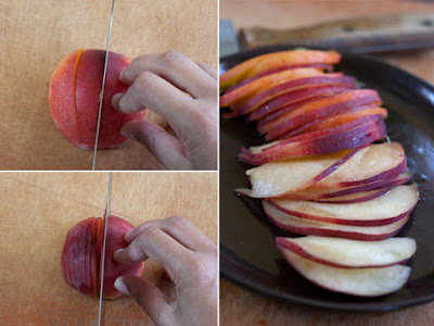 Slicing peaches into different sized wedges