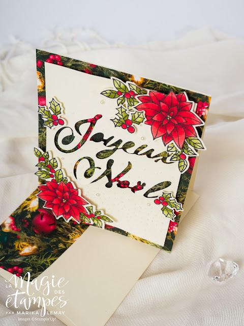 Carte de Noël Stampin' Up! avec le papier Design Parure de lumière