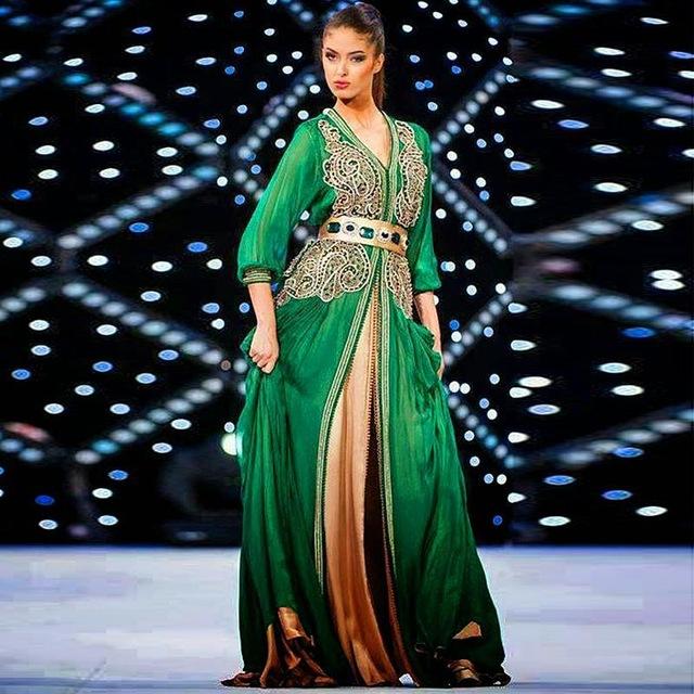 caftan marocain vert emeraude
