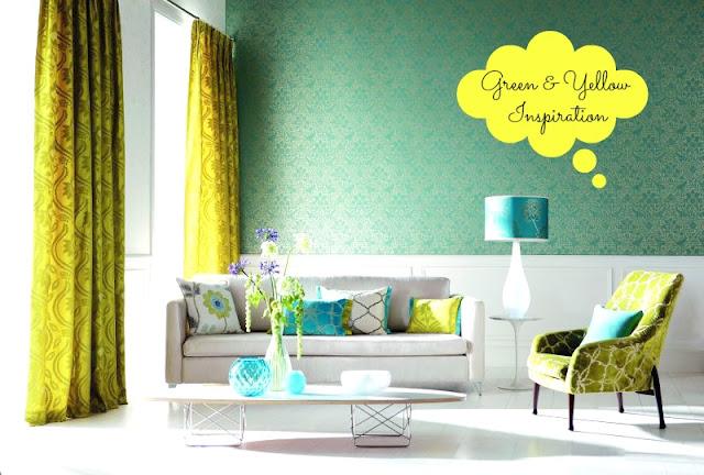 żółto-zielony salon