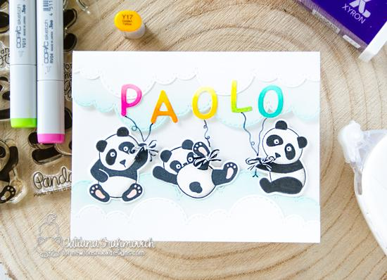 Newton's Nook Designs & Xyron Inspiration Week | Panda Letter Balloon Card by Tatiana Trafimovich | Playful Pandas Stamp Set and Essential Alphabet Die Set by Newton's Nook Designs | Adhesive by Xyron #newtonsnook #xyroninc