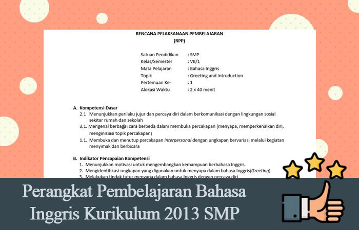 Perangkat Pembelajaran Bahasa Inggris Kurikulum 2013 SMP MTS