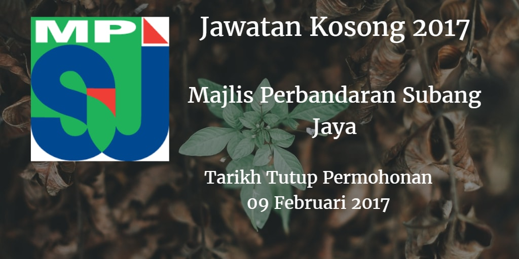 Jawatan Kosong MPSJ 09 Februari 2017