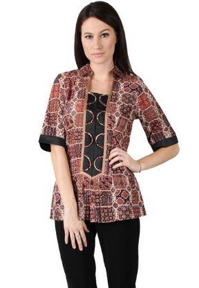 20 Contoh Model Kemeja Batik Wanita Kombinasi Modern 2018