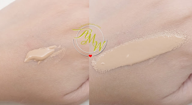 a swatch photo of Estee Lauder Double Wear Stay-in-place makeup review in Warm Creme