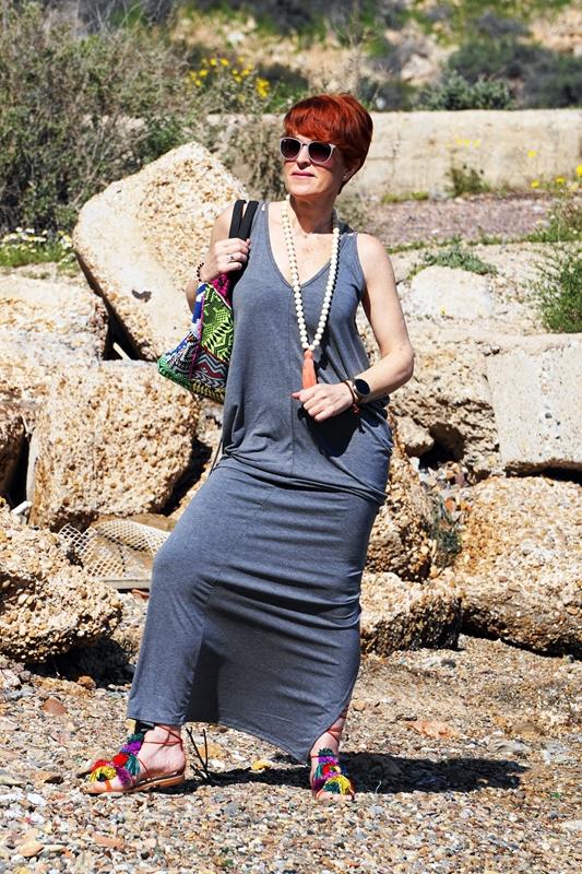 Almamodaaldia - Vestido Gris Shein