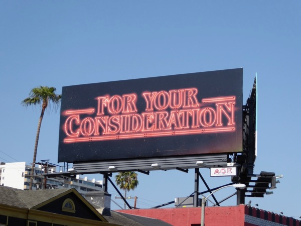 Stranger Things For Your Consideration neon billboard