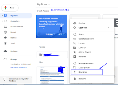 download file from google drive in computer