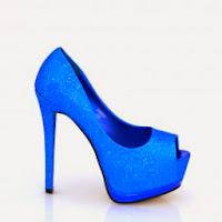 Pantofi dama albastri cu sclipici