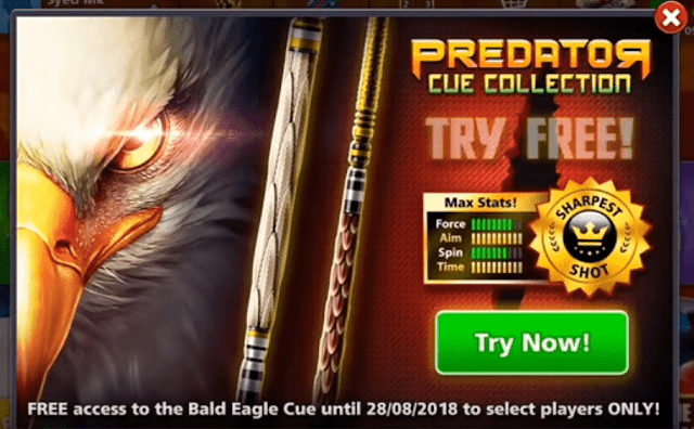 8 ball pool Get Free Bald Eagle Cue