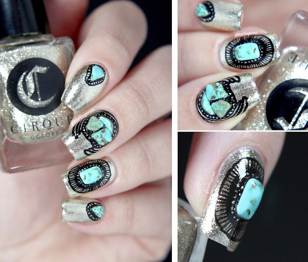 nail art with stones glitterfingersss
