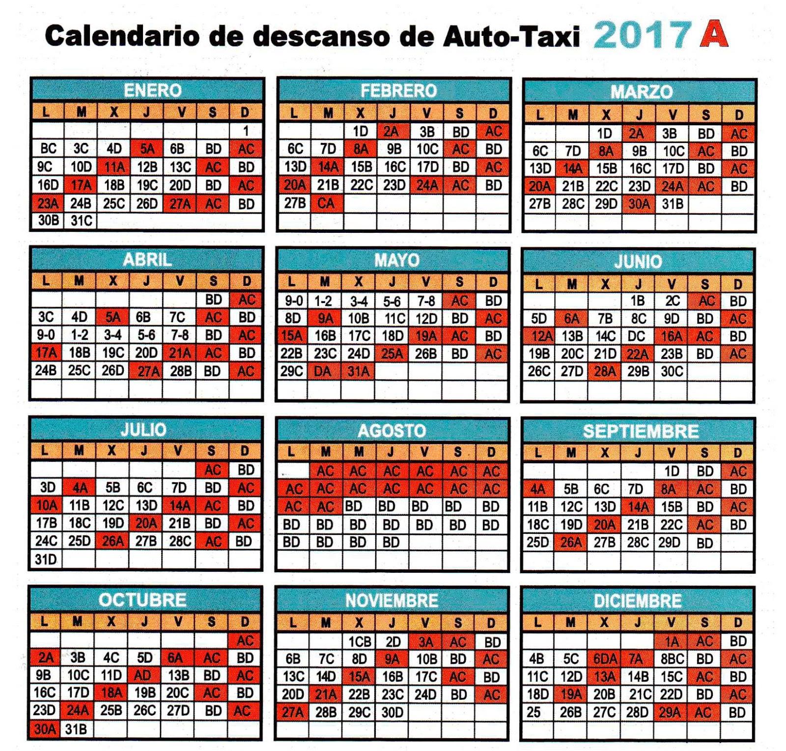 CALENDARIO 2017 LETRA A