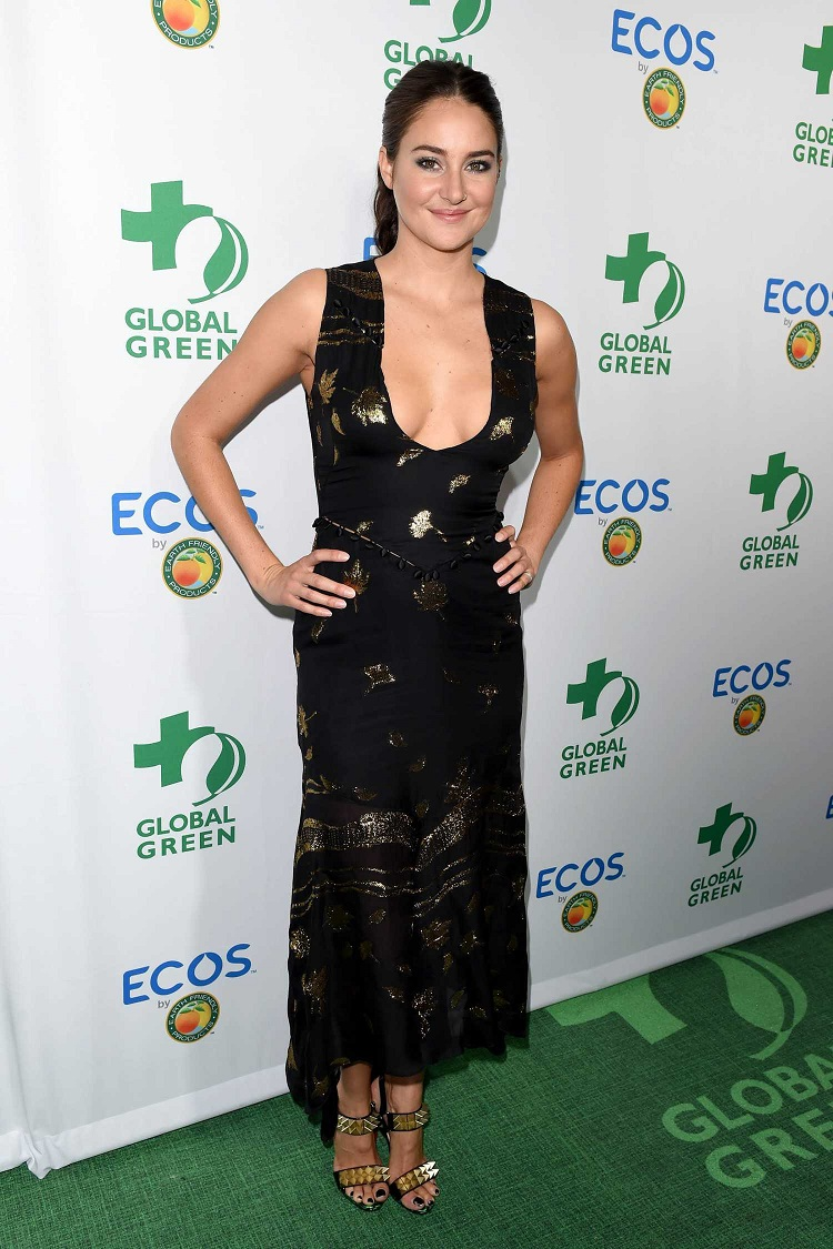 Shailene Woodley impresses in a low cut dress at the Global Green Awards in LA