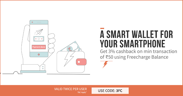 Freecharge (All Users) - Get 3% Cashback On Recharge Of Rs 50