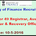 Ministry of Finance Recruitment 2016 Apply for 49 Registrar, Assistant Registrar & Recovery Officer Posts