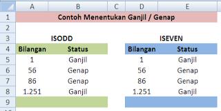 rumus ISODD dan ISEVEN dalam Excel