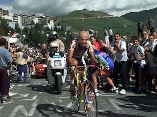 Pantani in action in the Tour de France in 1997