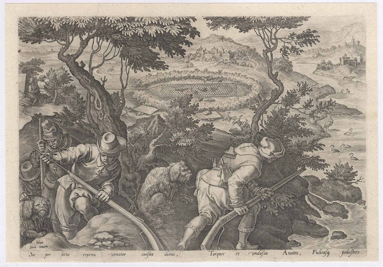 "5f993af52e66 Prints and Principles: Philips Galle's engraving, ""Duck Hunt with ..."