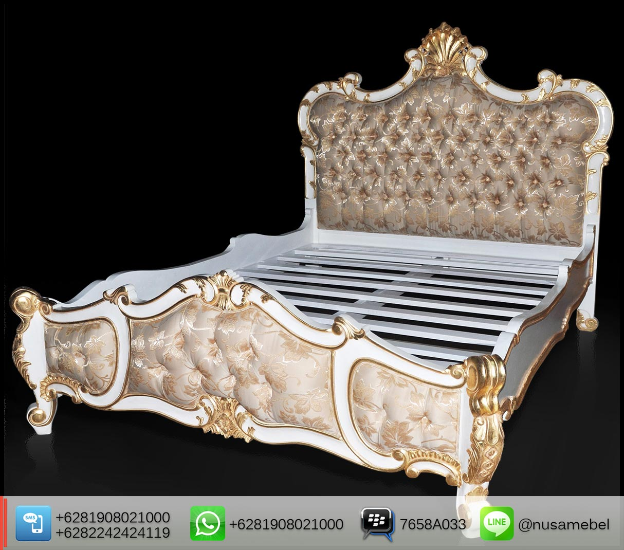 Mahogany French Bed in White Gold Nexter