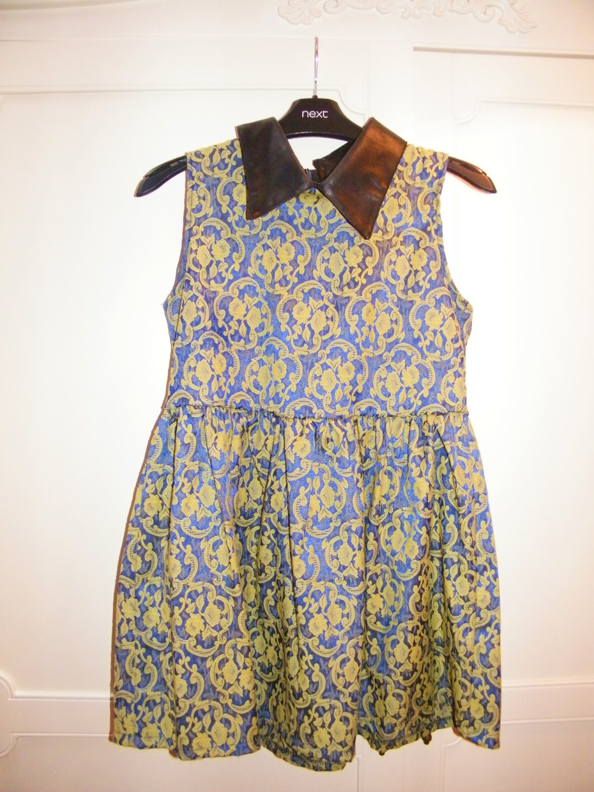ROMWE Blue and Gold Dress
