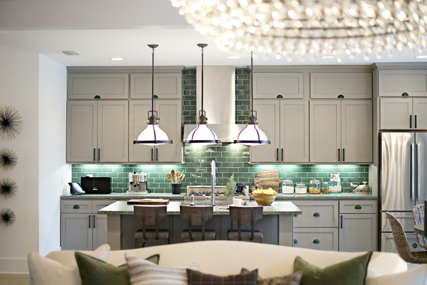 Greens Are Very Prominent Throughout The Home Inspired By Outdoors And Island Landscape Kitchen Was Layered In Multiple Tones Of Green