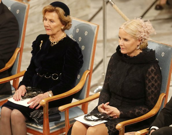 King Harald, Queen Sonja, Crown Prince Haakon and Crown Princess Mette-Marit attend the Nobel Peace Prize Award Ceremony