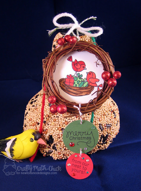 Birdseed Bell Nest ornament tag by Crafty Math Chick | Holiday Tweets stamp set by Newton's Nook Designs