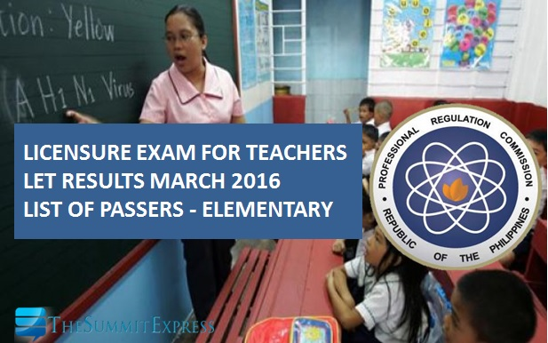 March 2016 LET Results: Alphabetical List of Passers Elementary Level
