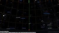 31.07.2018  Położenie Marsa w czasie górowania w dzień największego zbliżenia do Ziemi od sierpnia 2003 roku. Mapa dla Jastrzębiej Góry - elewacja około 9 stopni. Górna granica mapy wyznacza elewację 45 stopni nad horyzontem, tj. połowę drogi od horyzontu do zenitu.