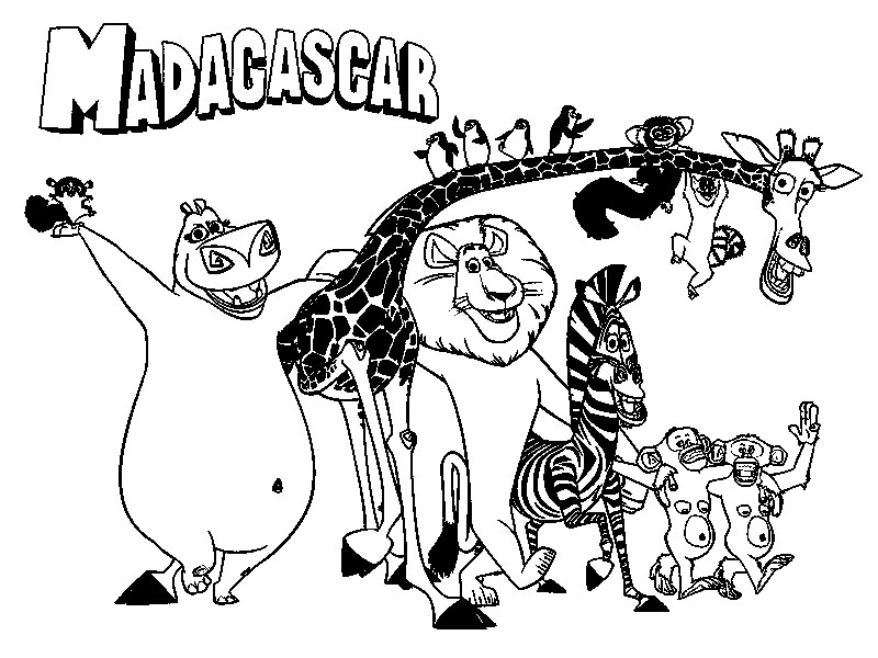 Cartoon Images For Colouring Madagascar Coloring Book For Kids