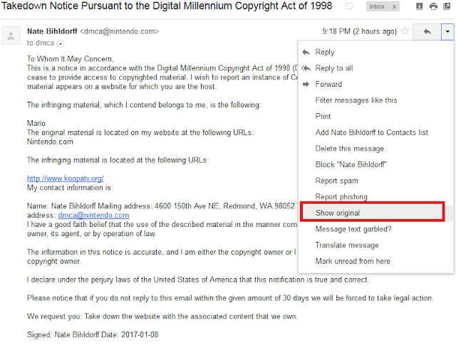 Show original fake DMCA takedown notice Nintendo Nate Bihldorff Google Mail
