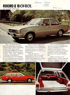 Sales brochure page for Opel Rekord D series