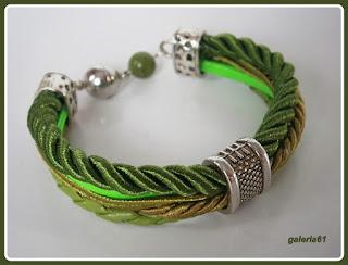 bransoletka, zielone rzemyki, zapięcie magnetyczne