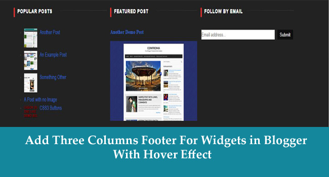 Add 3 Columns Footer For Widgets in Blogger Layout
