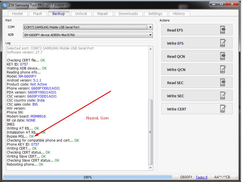 NAZRUL TELECOM: g600fy cert file reset msl error 100% done