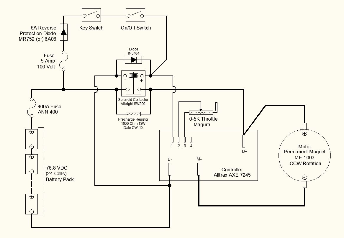small resolution of  on the main solenoid contactor per the controller instruction manual combined with typical wiring diagrams used by most ev motorcycle builders