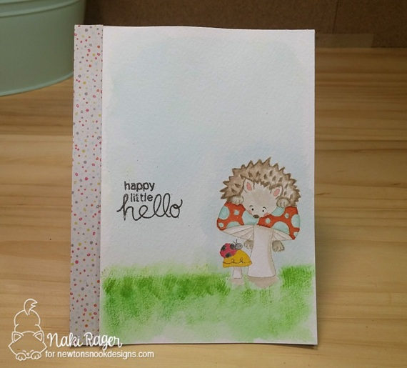 Happy Little Hello Hedgehog Card by Naki Rager | Hedgehog Hollow Stamp set by Newton's Nook Designs #newtonsnook #hedgehog