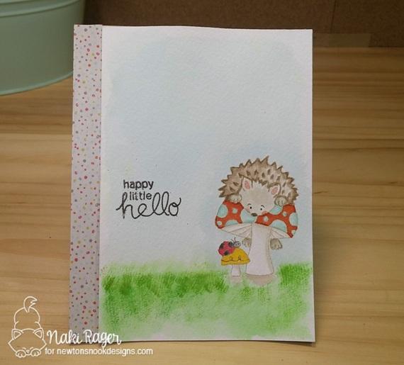 Happy Little Hello Hedgehog Card by Naki Rager | Hedgehog Hollow Stamp set by Newton's Nook Designs #newtonsnook #hedgehog