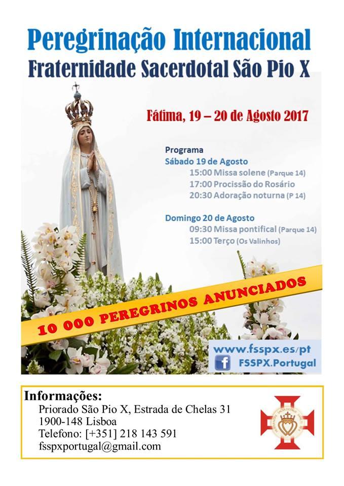 COMEÇA AMANHÃ A PEREGRINAÇÃO INTERNACIONAL DA FSSPX, EM FÁTIMA