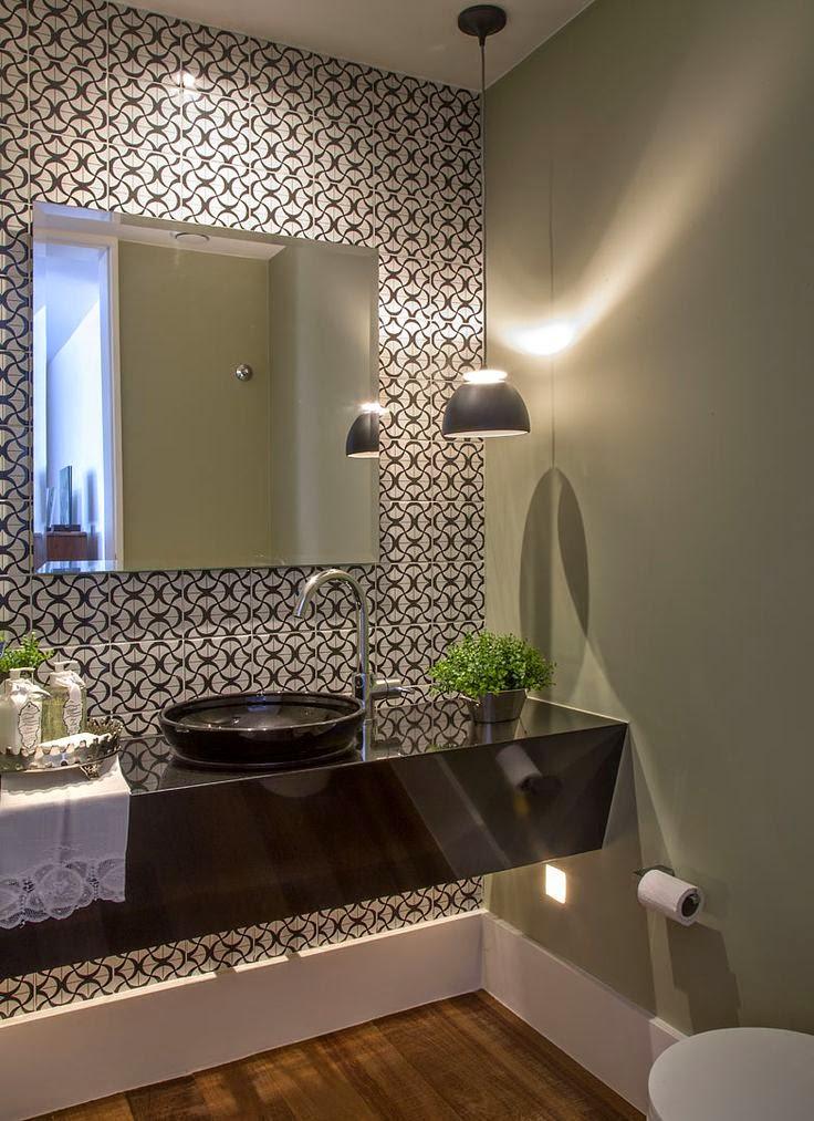 11 banheiros decorados com piso geom trico decor alternativa - Piso pequeno moderno ...
