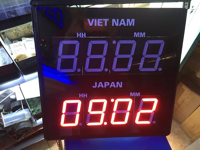 Đồng hồ led treo tường xem giờ 2 nước Việt Nam - Nhật Bản