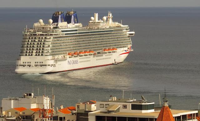 the cruise ship Britannia leaves Funchal harbour