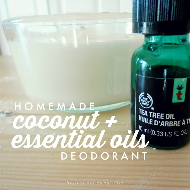 Recipe for homemade deodorant with coconut oil, baking soda, and essential oils with instructions and information for making, storing, and using.