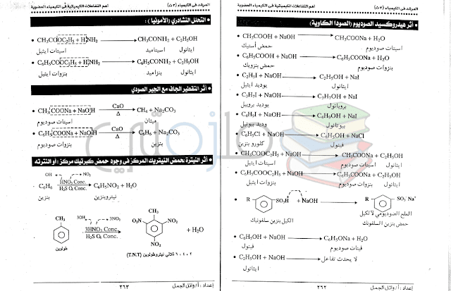 امتحانات الكيمياء للثانوية العامة للسنوات السابقة واجاباتها النموذجية