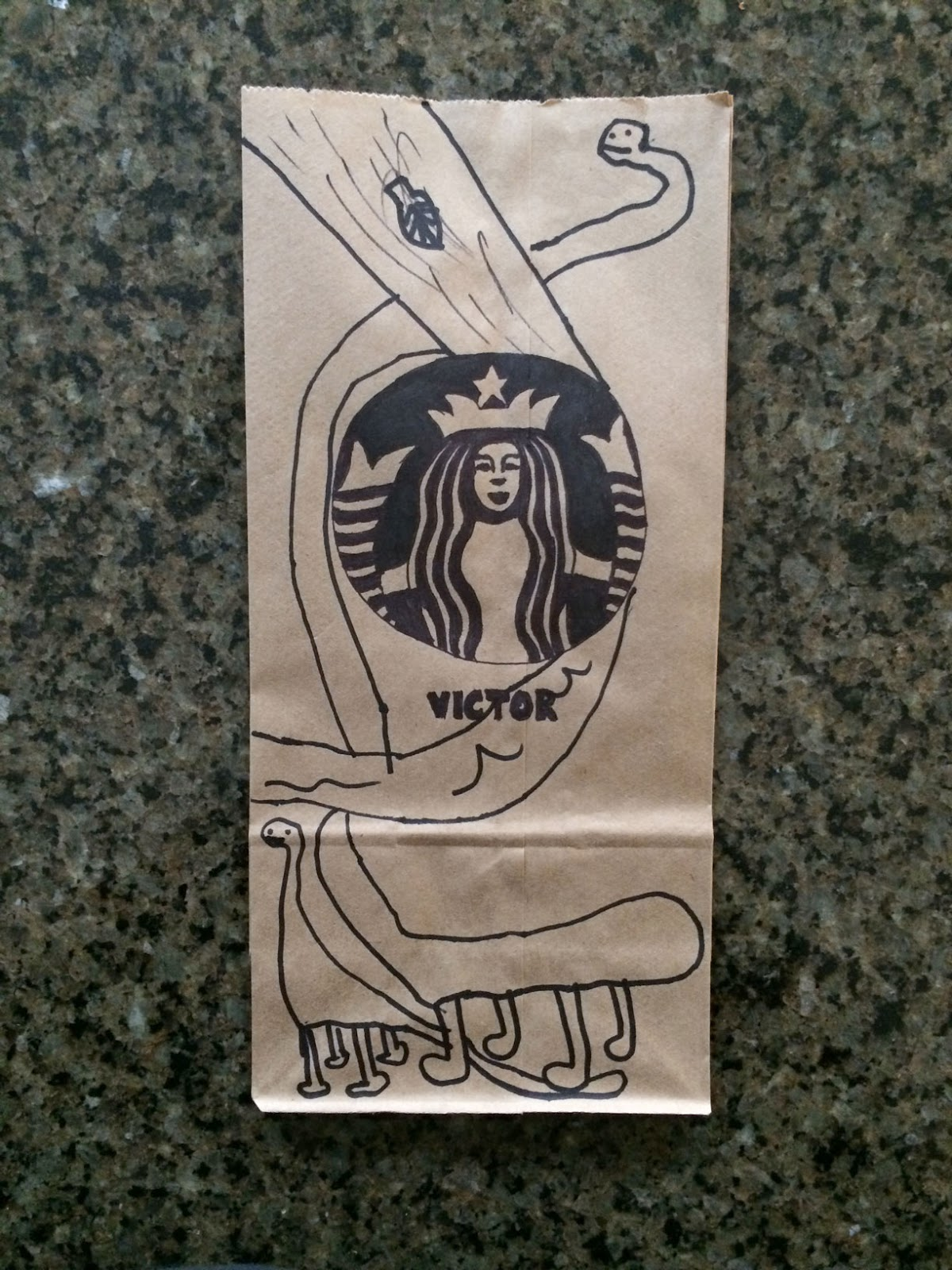 Starbucks Mermaid Logo Plus Two Dinosaurs