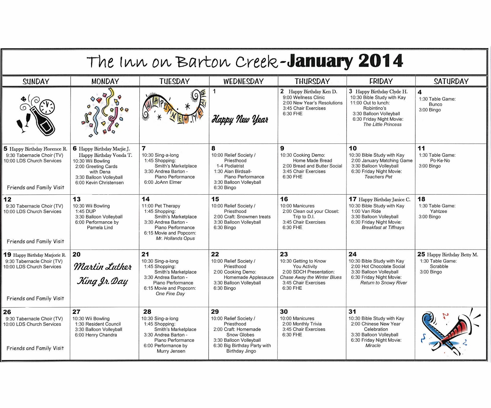 Barton Creek Assisted Living Activities Calendar January