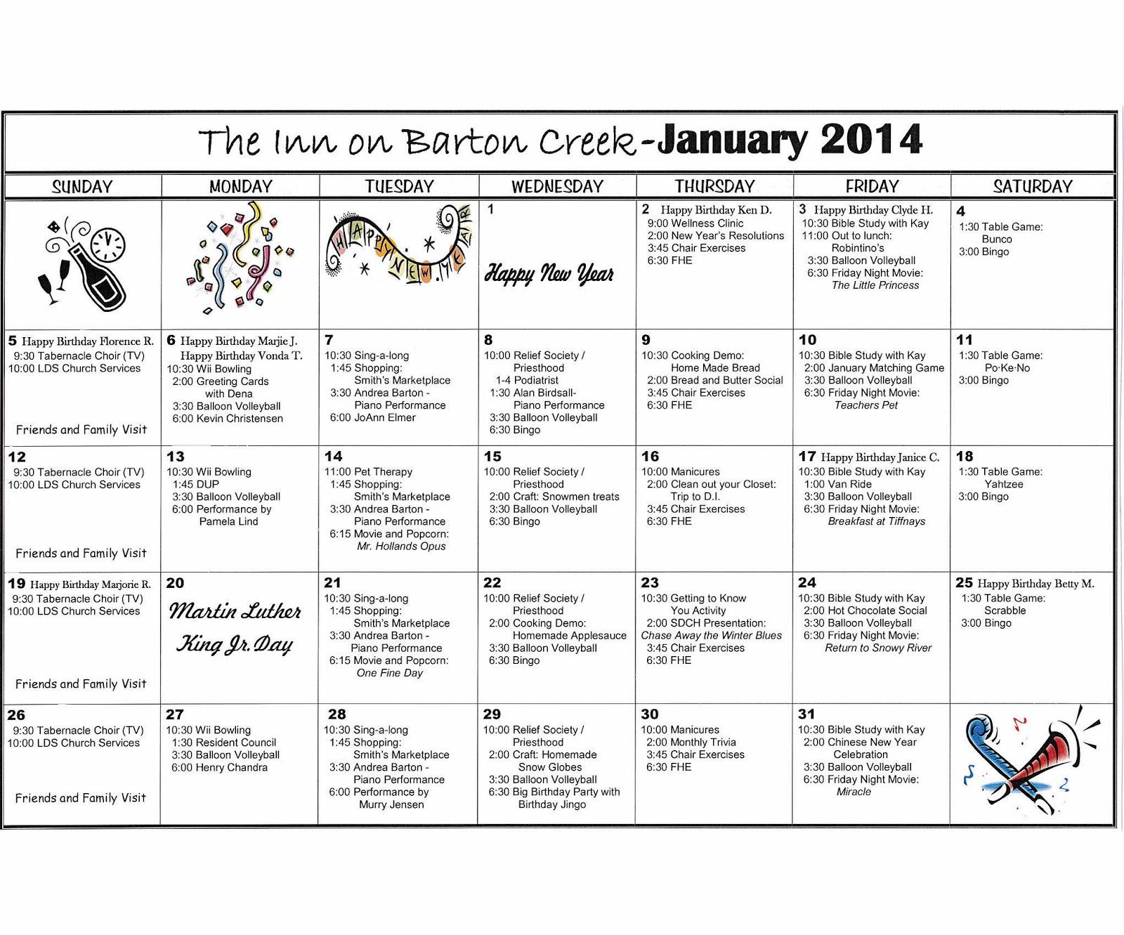 Barton Creek Assisted Living Activities Calendar January