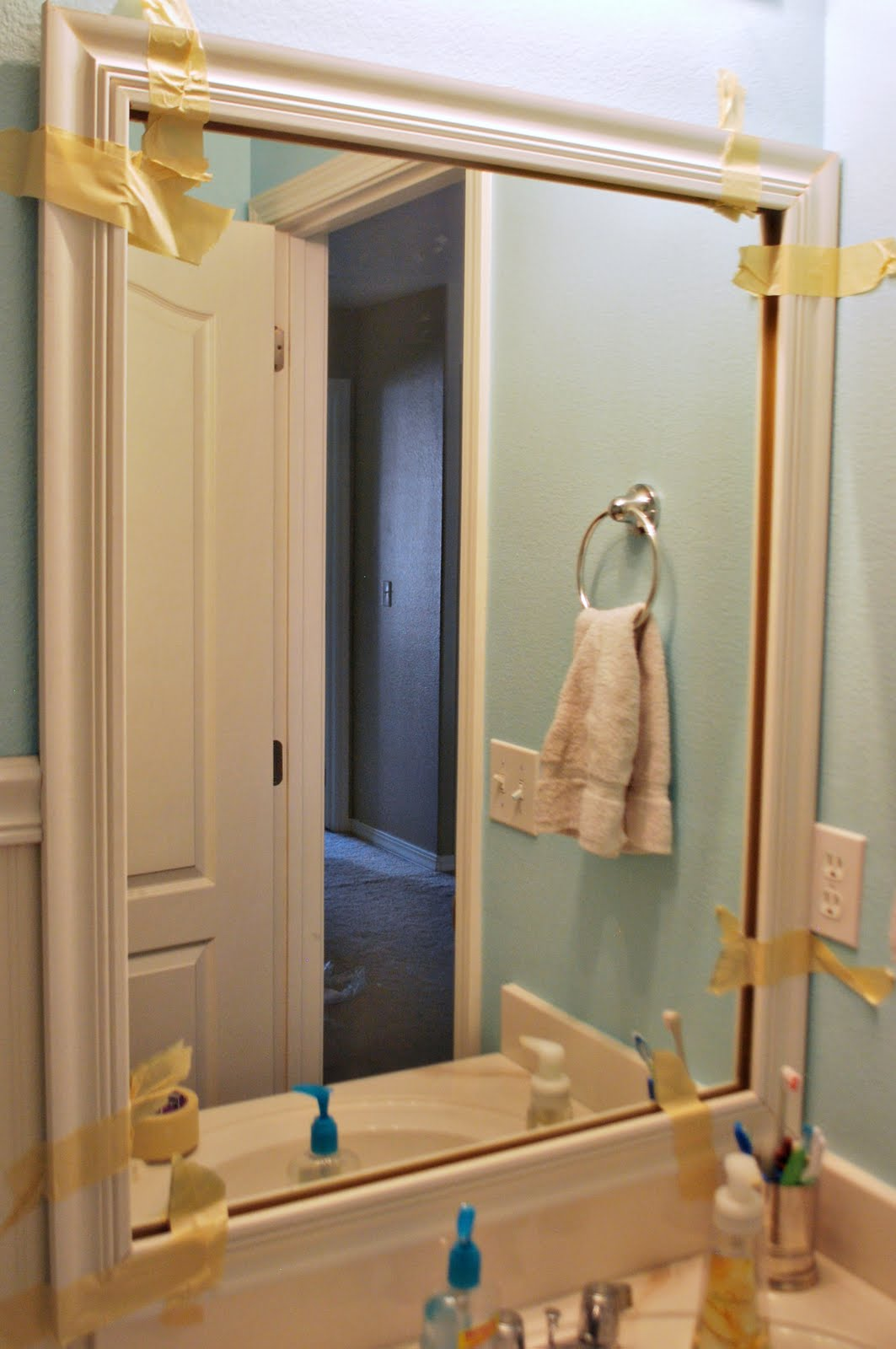 Framing A Large Bathroom Mirror Loving Your Space Diy Mirror Framing