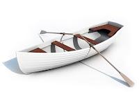 Beyaz ahşap sandal